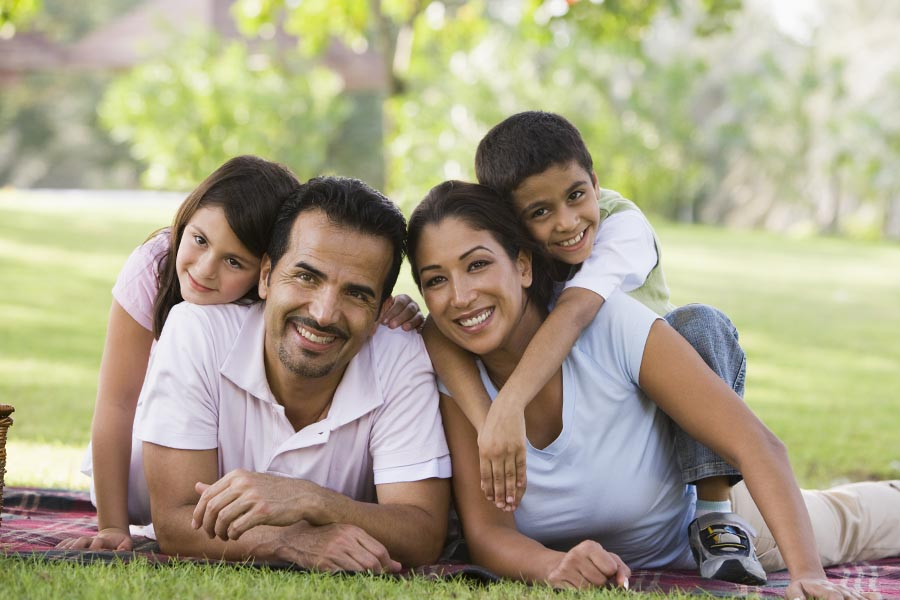 Personal Insurance - Family Gathers on a Picnic Blanket in a Park, Smiling on a Spring Day